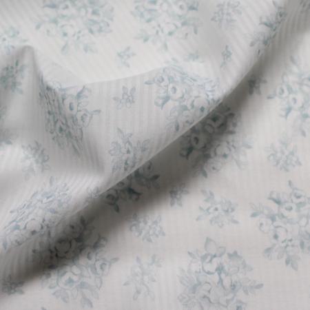 Tissu coton organique imprimés fleurs bleu vénitien