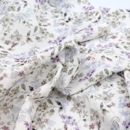 Double gaze de coton à motifs imprimés fleuri aquarelle