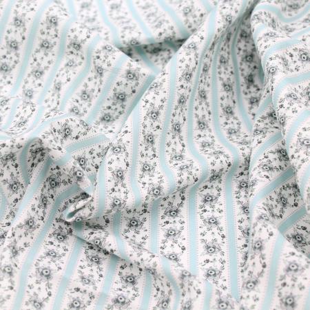 Popeline de coton BIO imprimé fleuri nuances de bleu