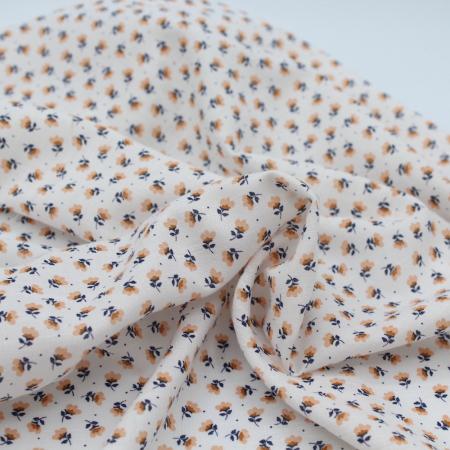 Tissu coton viscose imprimé pois et fleurs