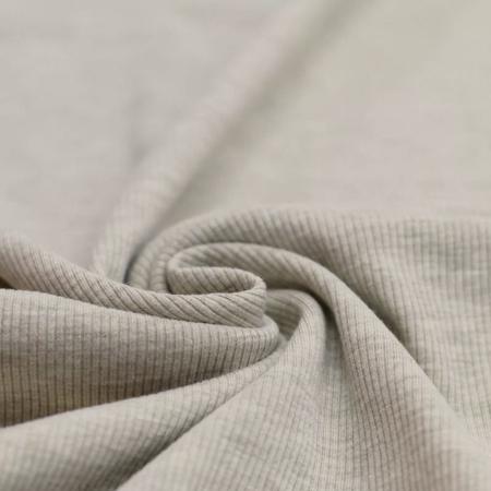 Jersey coton côtes fines coloris beige chiné