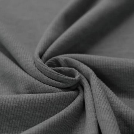 Jersey coton côtes fines coloris anthracite chiné