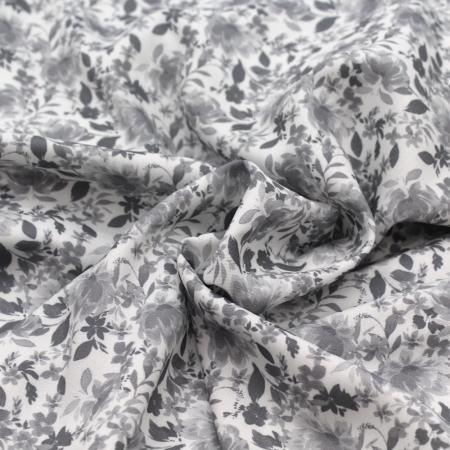 Viscose imprimée fleuri GRIS