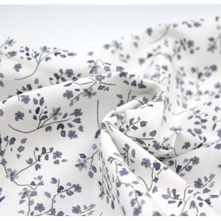 Popeline de coton BIO imprimé fleuri nuances de gris ardoise