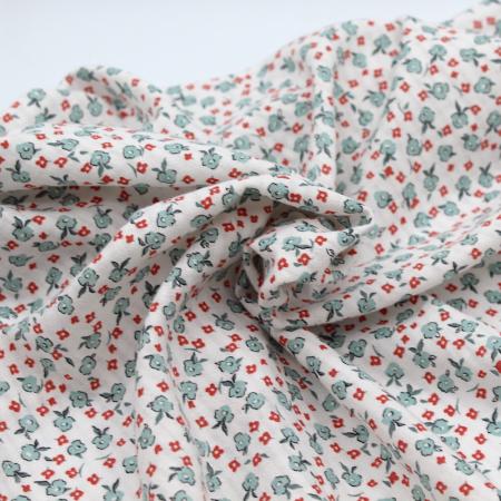 Seersucker / Coton gaufré doux motif petites fleurs