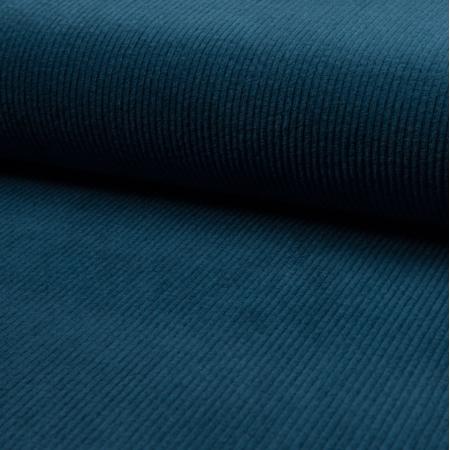 Velours grosses côtes coton coloris bleu pétrole