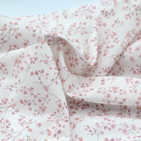 Popeline de coton BIO imprimé aquarelle rose