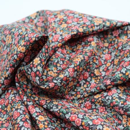 Popeline de coton BIO imprimé foncé multicolore automne