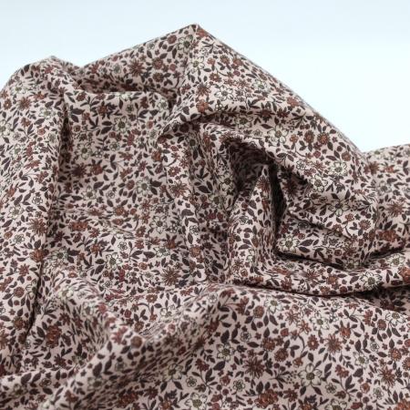 Batiste de coton bio SILKYNE à imprimé fleuri automne