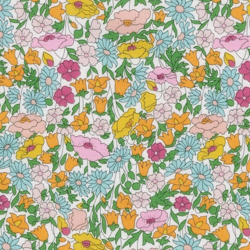 Tissu liberty poppy forest multicolore