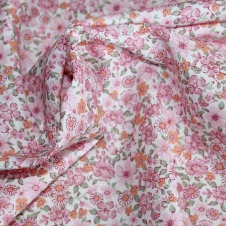 Batiste de coton SILKYNE imprimé fleuri rose