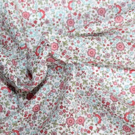 Batiste de coton SILKYNE imprimé fleuri sorbet fraise mint