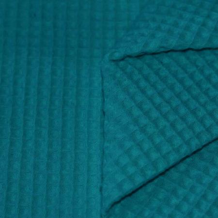 Coton nid d'abeille coloris bleu paon