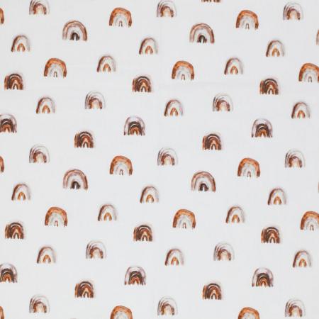 Coton popeline imprimé arc-en-ciel argile