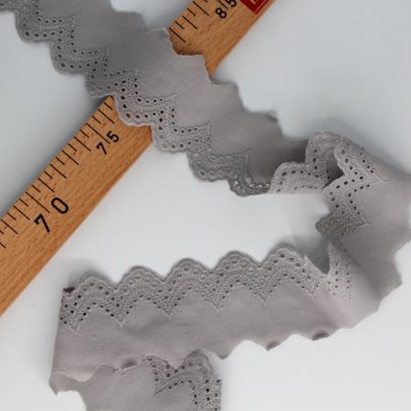 Galon coton broderie anglaise brodé gris 50mm x 1m