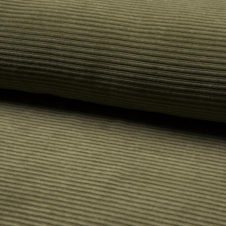 Velours jersey grosses côtes coton coloris kaki