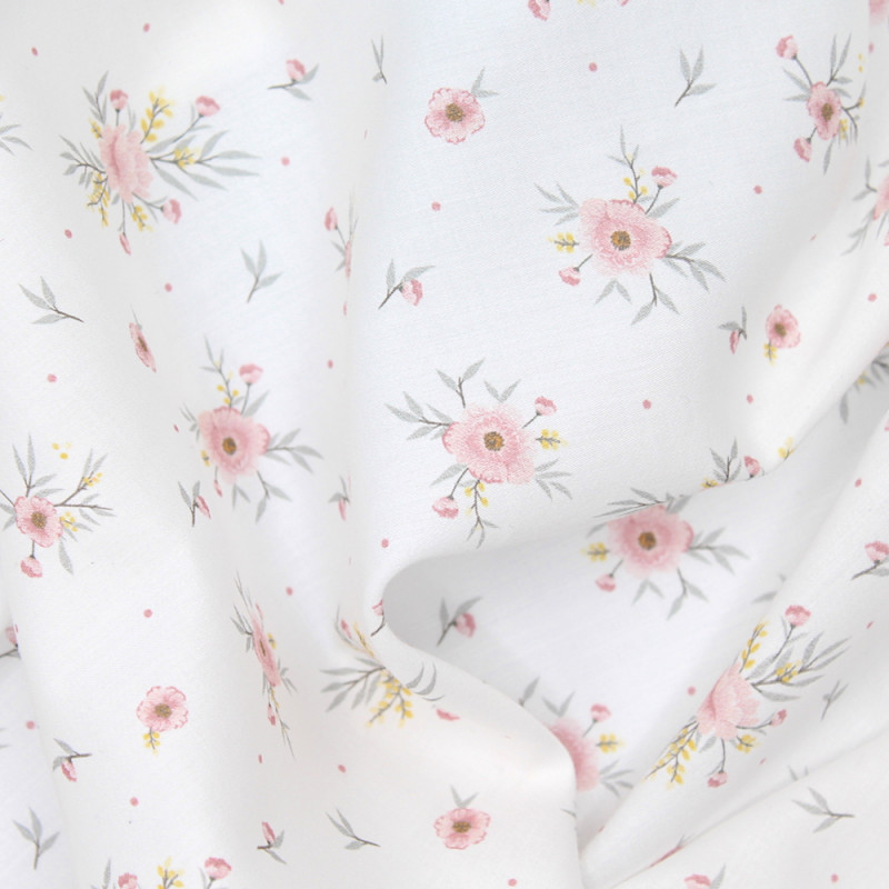 Tissu exclusif cotton motif Josephine rose