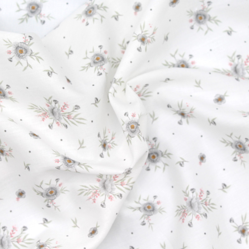 Tissu exclusif cotton motif Josephine gris