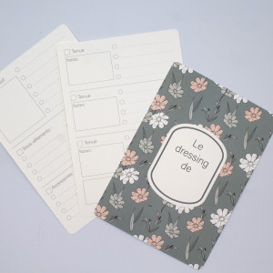 Pack 3 fiches d'organisation dressing A5 coloris Green flowers