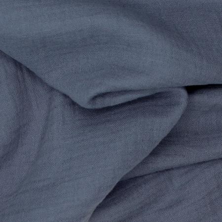 Double gaze de coton BIO unie bleu denim foncé