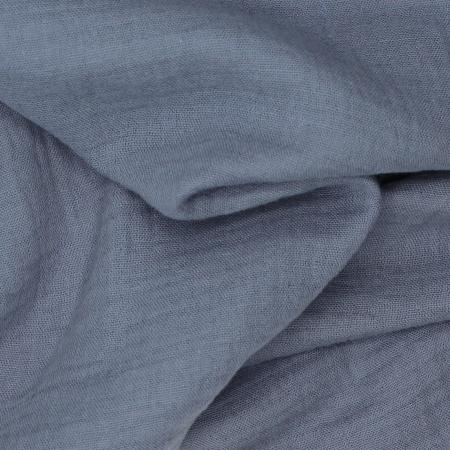 Double gaze de coton BIO unie bleu vénitien