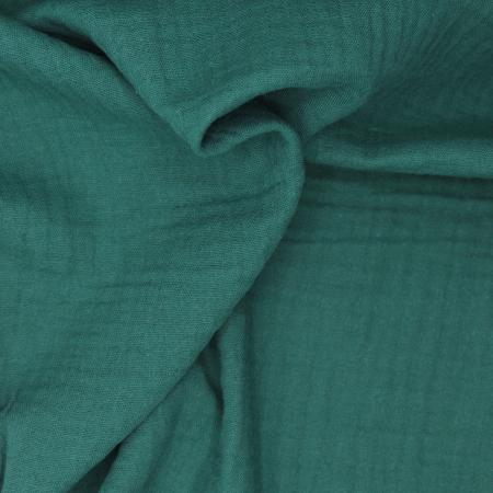 Double gaze de coton BIO unie vert cèdre