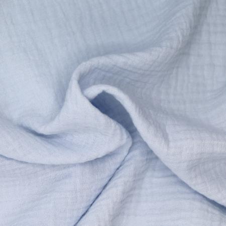 Double gaze de coton BIO unie bleu poudré