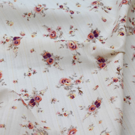 Tissu coton texturé / jacquard fleuri vintage