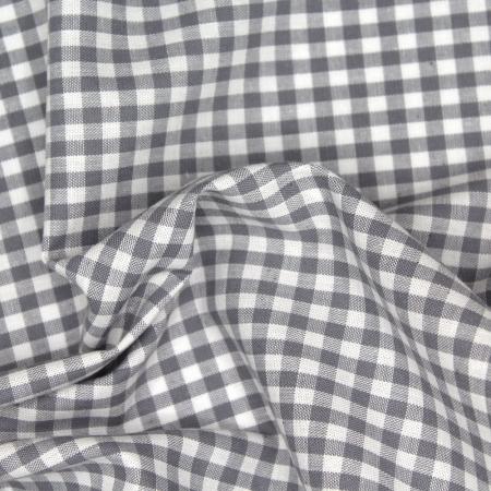 Coton vichy carreaux blanc et gris