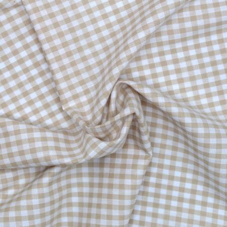 Coton vichy carreaux blanc et beige 5mm