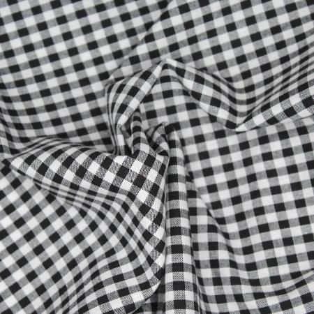 Coton vichy carreaux blanc et noir 5mm