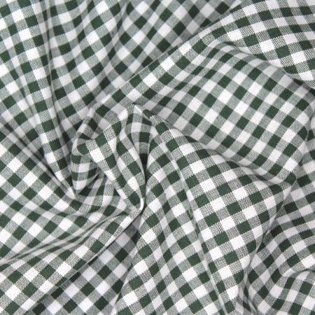 Coton vichy carreaux vert bouteille et blanc 5mm