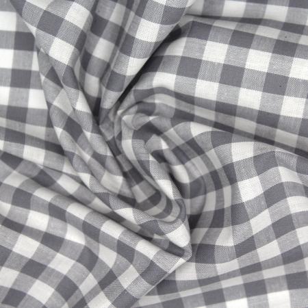Coton vichy carreaux blanc et gris 10mm