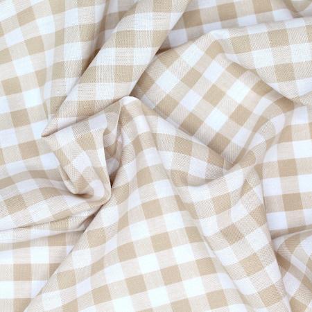 Coton vichy carreaux beige et blanc 10mm