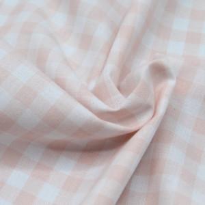 Coton vichy carreaux nude et blanc 10mm
