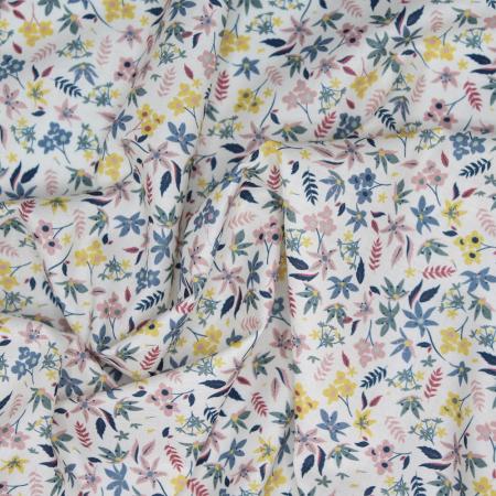 Batiste de coton douce imprimé fleuri
