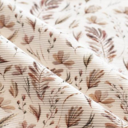 Jersey à côtes coloris branches feuilles argile
