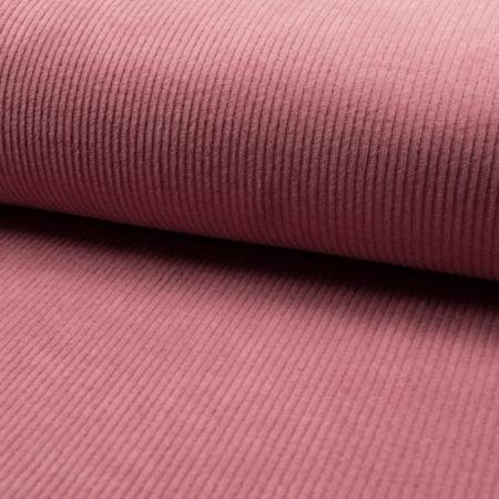 Velours grosses côtes coton coloris ROSE ancien