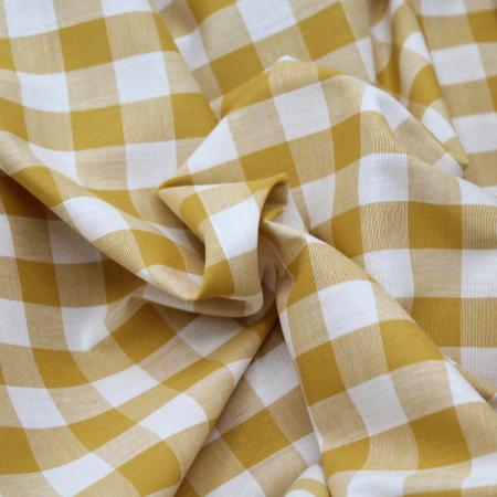 Coton vichy carreaux jaune savora et écru 20mm