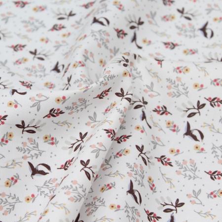 Tissu twill de coton organique imprimé fleuri oiseaux