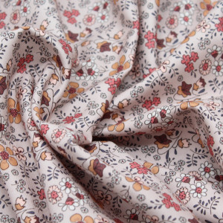Tissu twill de coton organique imprimé fleuri
