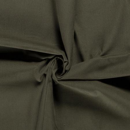Velours milleraies coton coloris vert kaki