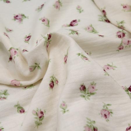Double gaze de coton écru à motifs fleuris ROSA