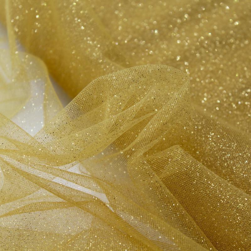 Tulle semi rigide pailletté : Coloris:Or paillettes or