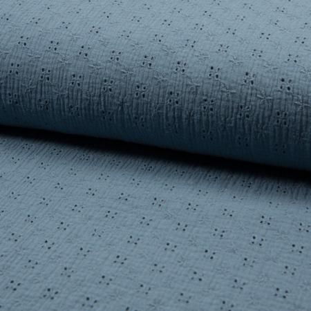 Double gaze de coton brodée coloris bleu vénitien