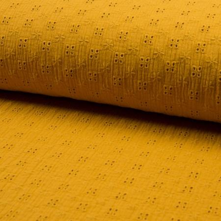 Double gaze de coton brodée coloris moutarde