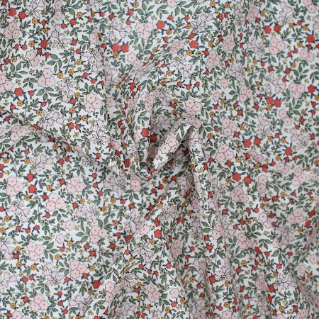 Batiste de coton SILKYNE imprimé fleuri kaki rose