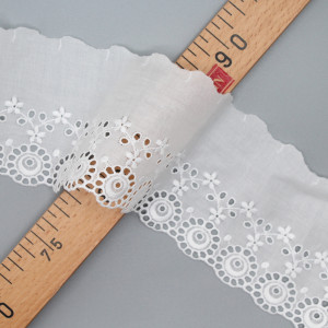 Galon coton broderie anglaise brodé 85mm x 1m