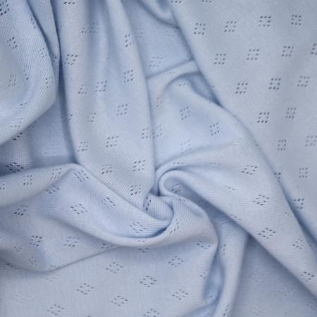 Jersey coton maille pointelle coloris bleu ciel