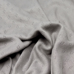 Jersey coton maille pointelle coloris taupe